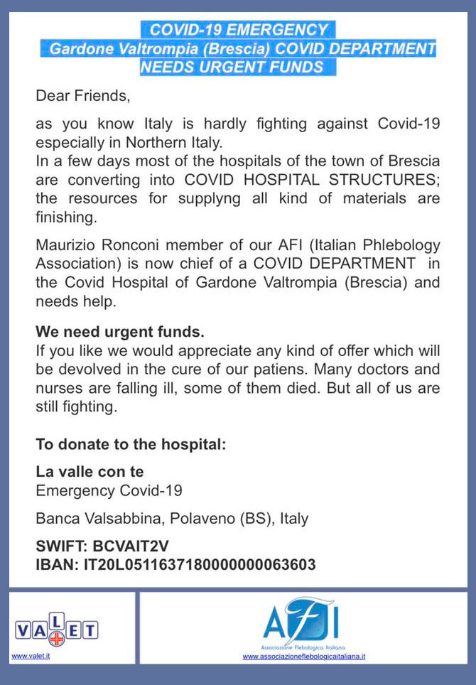 COVID-19 Emergency. Gardone Valtrompia Covid Department needs urgent funds